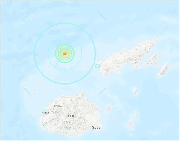 斐济北部海域发生5.0级地震 震源深度10千米