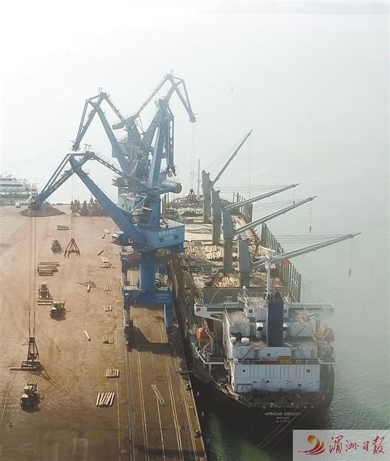 莆头港口迎开港以来最大原木船舶