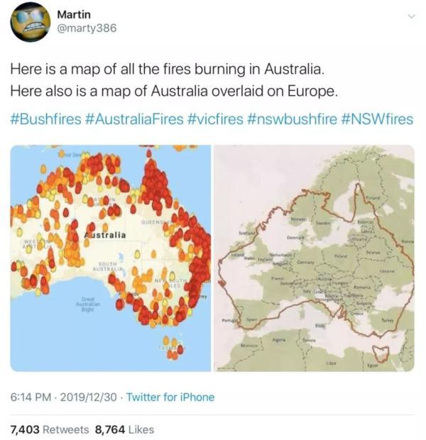 """社交媒体上错误的""""澳大利亚火情图"""""""