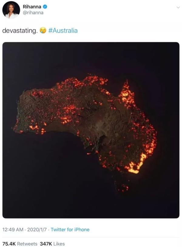 蕾哈娜在社交媒体上贴出的错误的澳大利亚火情图