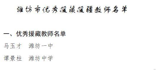 潍坊25名优秀援藏援疆教师受表扬