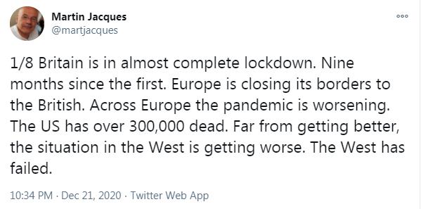 英国学者马丁-雅克连发8推:西方失败了