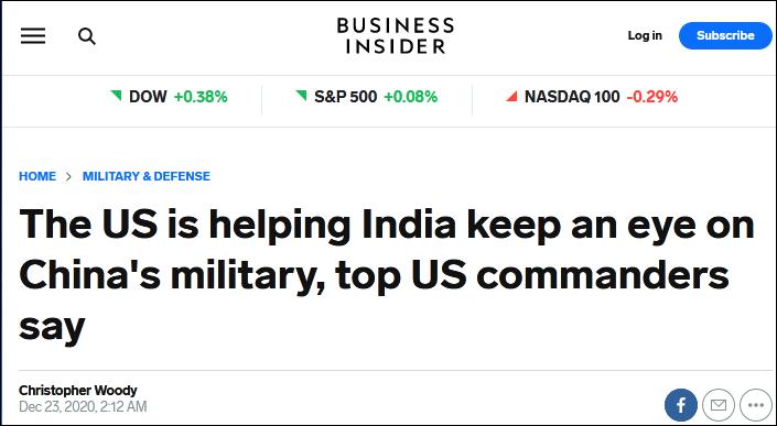 """美媒:美国正在帮印度""""监视""""中国军队图片"""