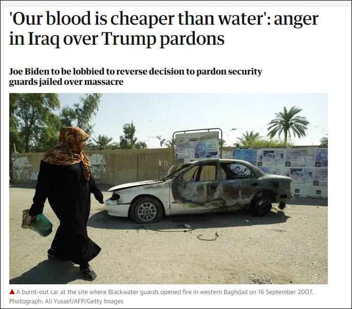 特朗普赦免黑水佣兵后,伊拉克人愤怒了