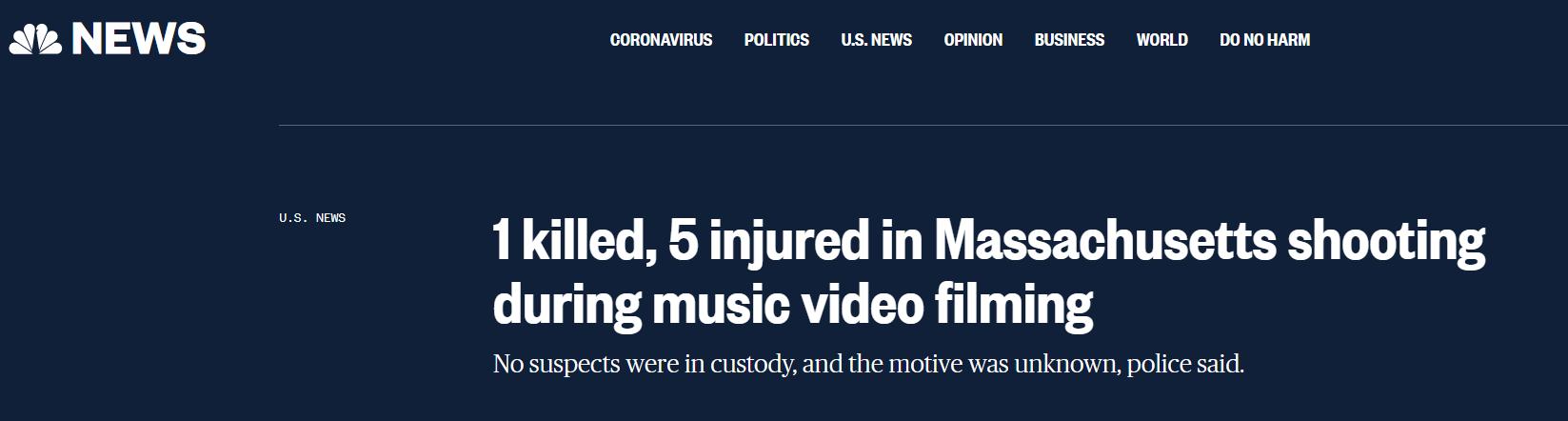 美国马萨诸塞州发生枪击事件,已致1人死亡5人受伤