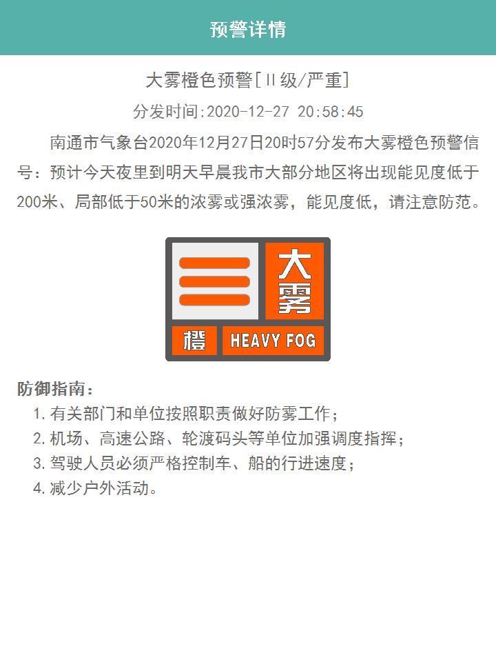 江苏南通、盐城两市发布大雾橙色预警信号图片