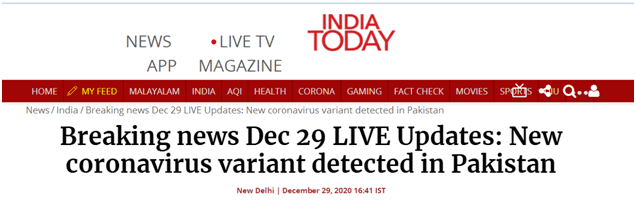 外媒:巴基斯坦确认出现首例变异新冠病毒感染病例