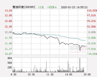 快讯:雪浪环境跌停  报于10.87元