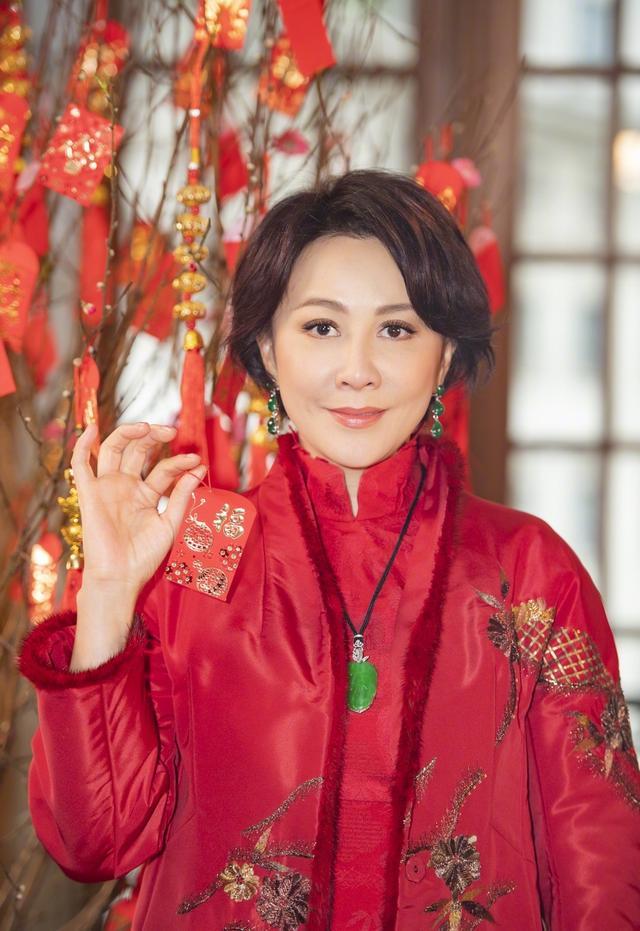 刘嘉玲穿刺绣棉袄亮相 年味十足!无奈姿势造型却一成不变