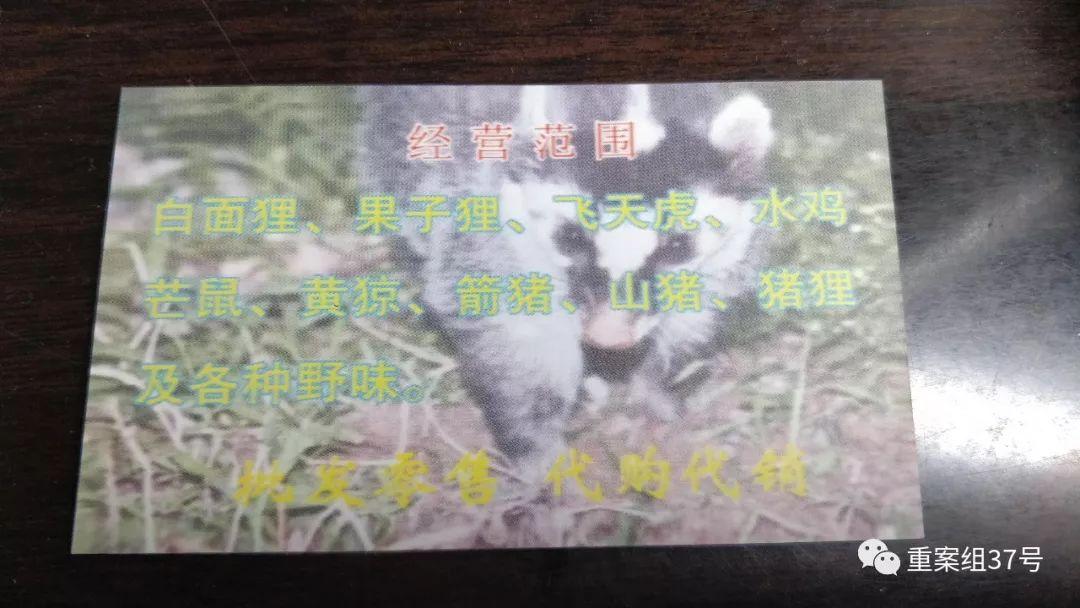 ▲海鲜市场店主派发的名片注明出售野生动物种类。新京报记者 刘浩南 摄