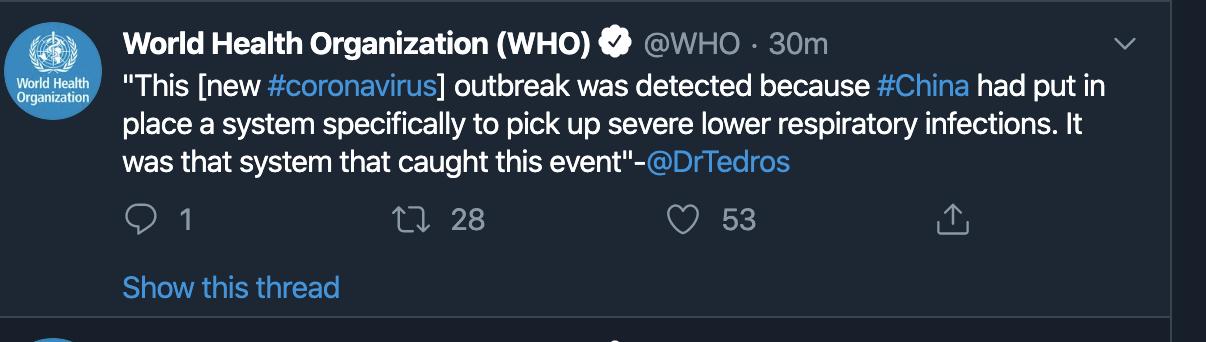 世卫组织和美国医疗专家肯定中国的应对疫情努力