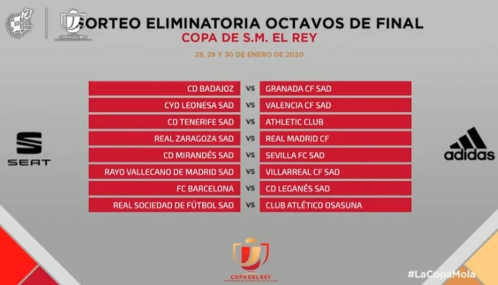国王杯八分之一:皇马vs萨拉格萨,巴萨vs莱加