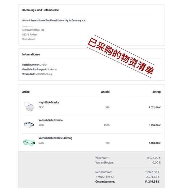 东南大学德国校友会向武汉疫区捐赠物资