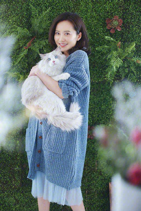 有一种高级感,叫俞飞鸿穿针织衫,配薄纱连衣裙像极了高级贵妇