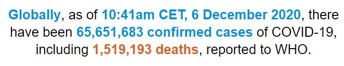 世卫组织:全球新冠肺炎确诊病例超过6565万例