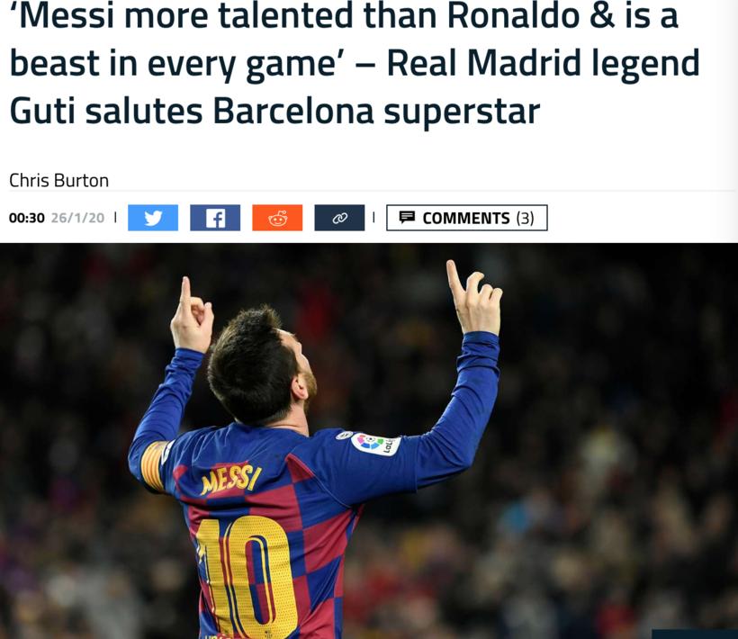 古蒂:梅西比C罗更有天赋,他每场比赛都是最佳