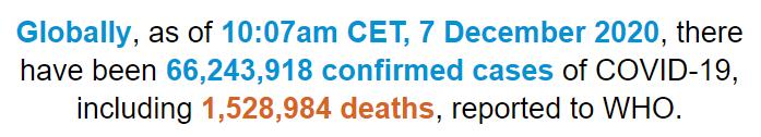 世卫组织:全球新冠肺炎确诊病例超过6624万例