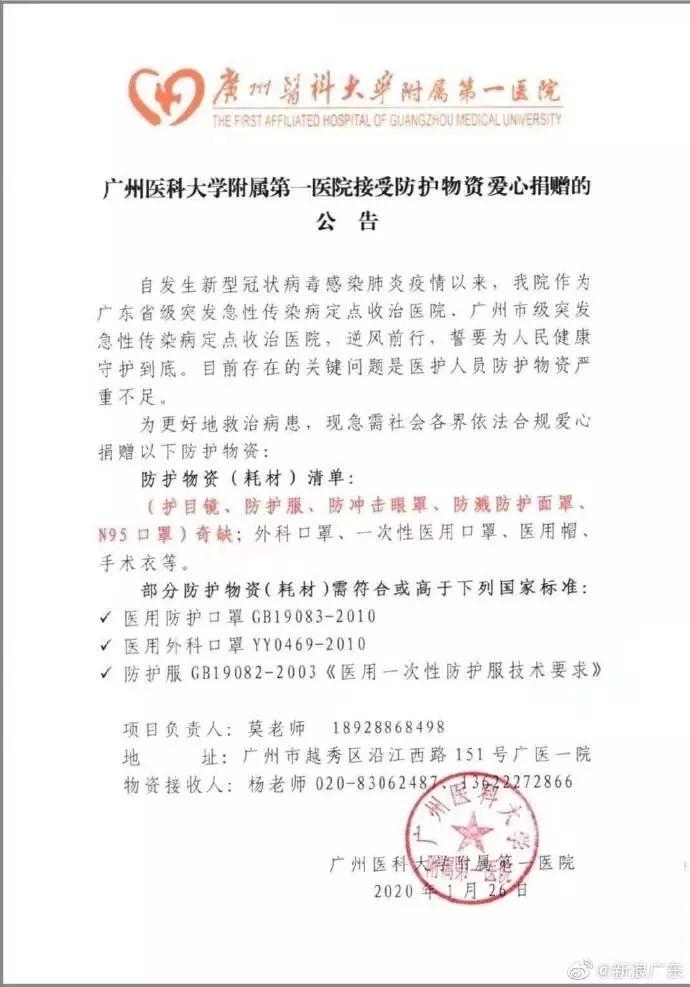 广州多家医院及钟南山团队急需防
