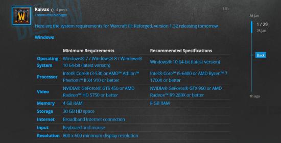 《魔兽争霸3:重制版》系统配置公开:推荐i5处理器、GTX960显卡