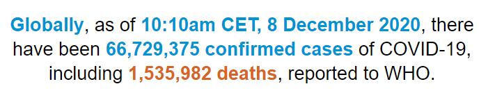 世卫组织:全球新冠肺炎确诊病例超6672万例