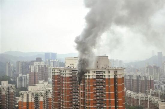 深圳福田区梅林一村高层住宅发生火灾 幸无人员伤亡