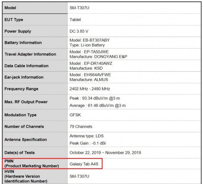 三星全新8吋平板Galaxy Tab A4S曝光:4860mAh大电池 支持LTE