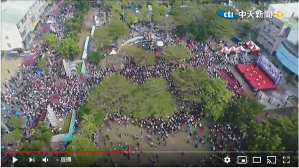 韩国瑜台南造势未开始就挤爆 俯拍图震撼网友(图)图片