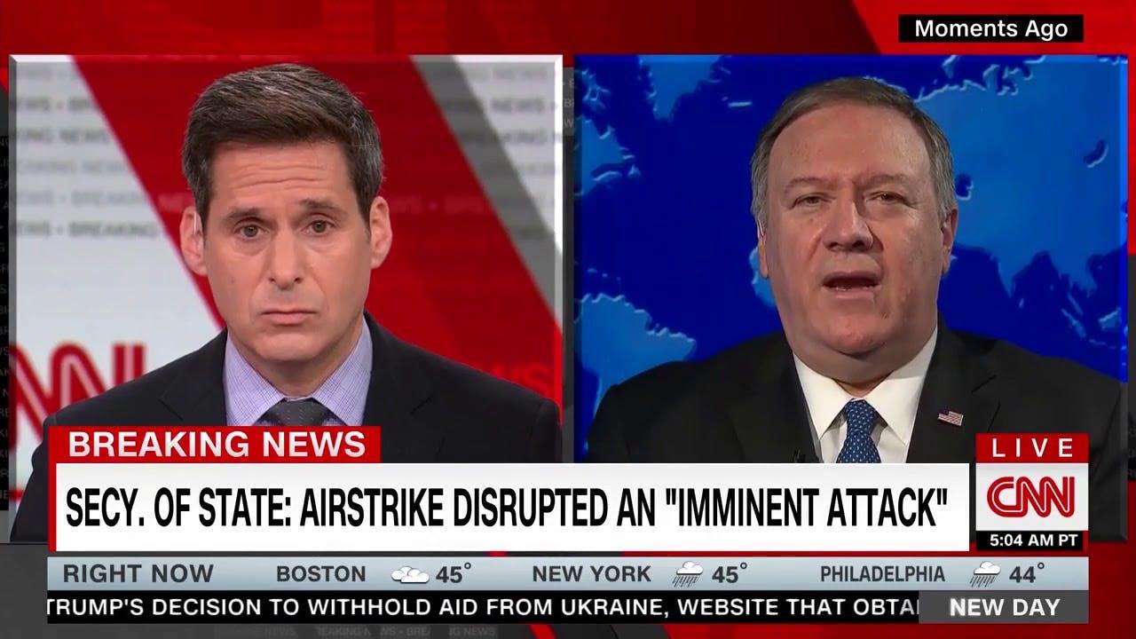 蓬佩奥称空袭是为了阻止伊朗袭击 专家:目光短浅