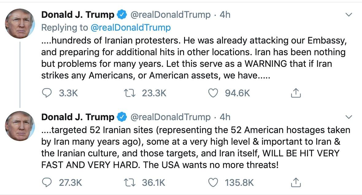 特朗普警告:若伊朗报复,将对其52个网点展开打击