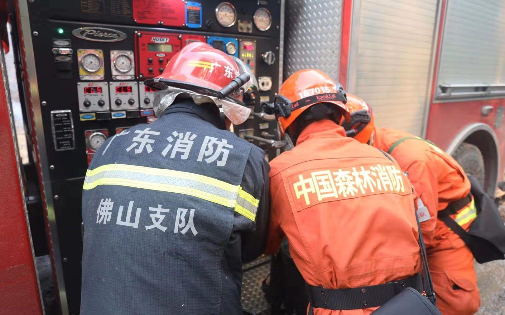 2019年12月5日,丛林消防和佛山本地消防支队协力扑救凌云山下三角塘水库四周山火。应急管理部供图