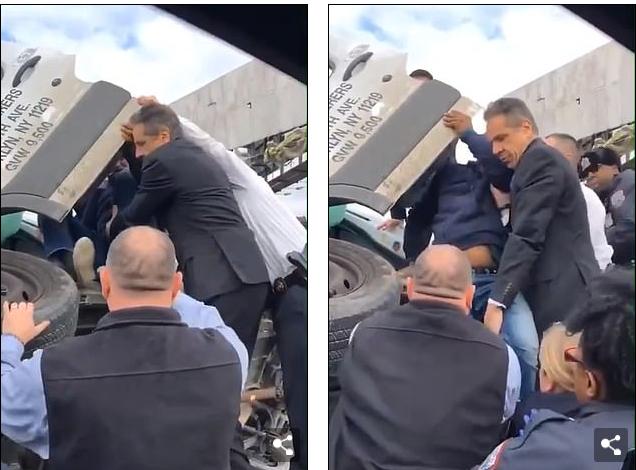 纽约州州长安德鲁·科莫救援被困男子(图源:每日邮报)