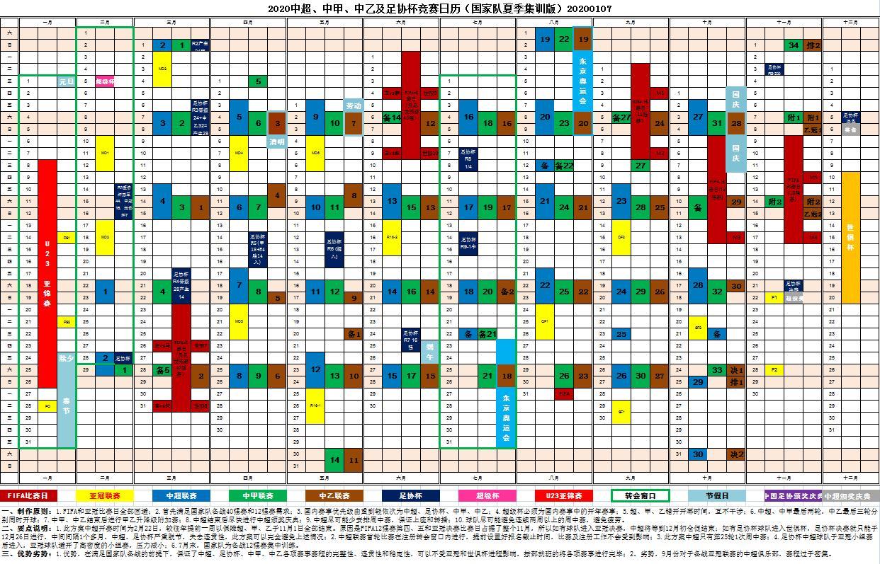 2020年中国足协各级别联赛赛历。 图片来源:中国足协官网文件截图