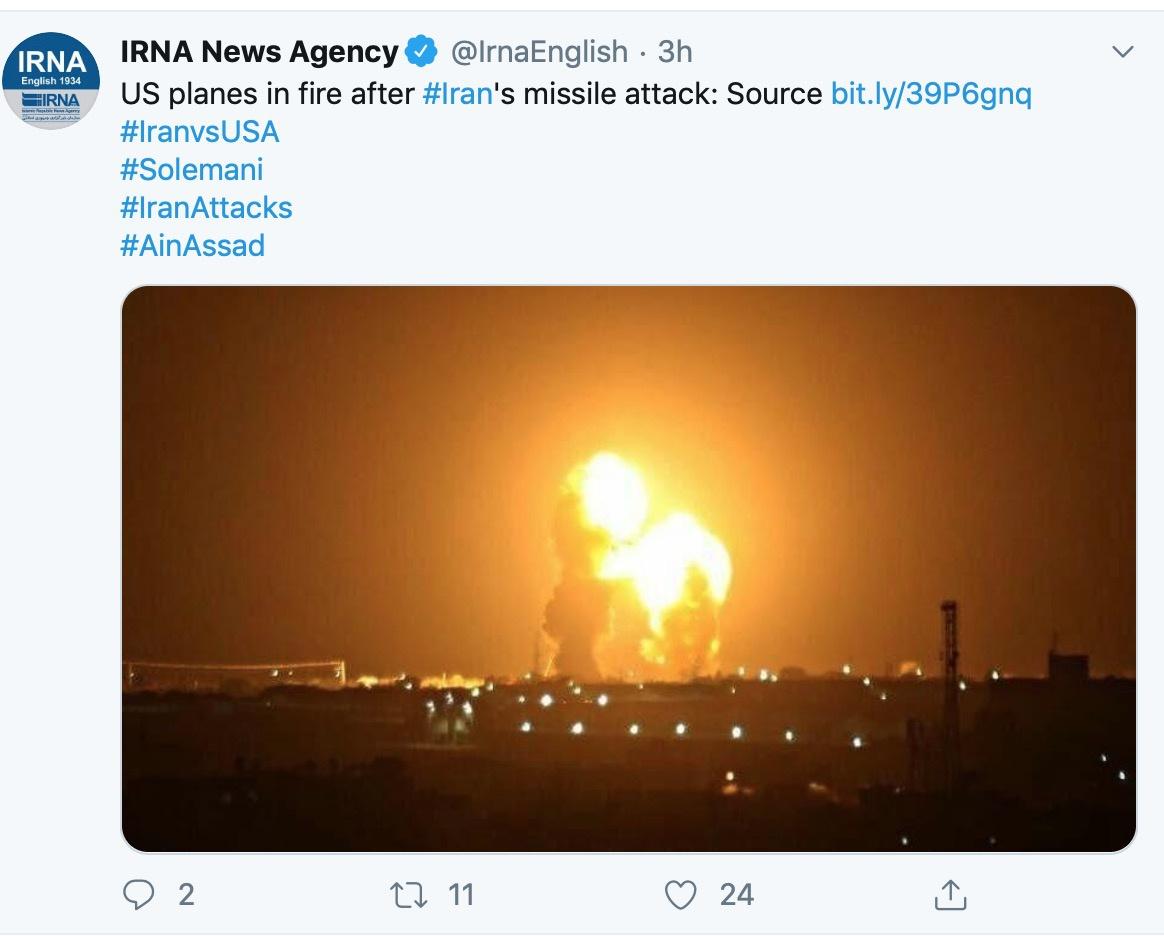 伊朗IRNA通讯社报道,伊朗袭击美军基地致美飞机起火。推特截图
