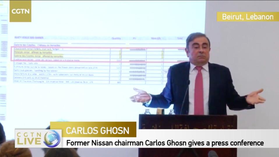 8日,戈恩在贝鲁特召开记者会。/CGTN视频直播截图