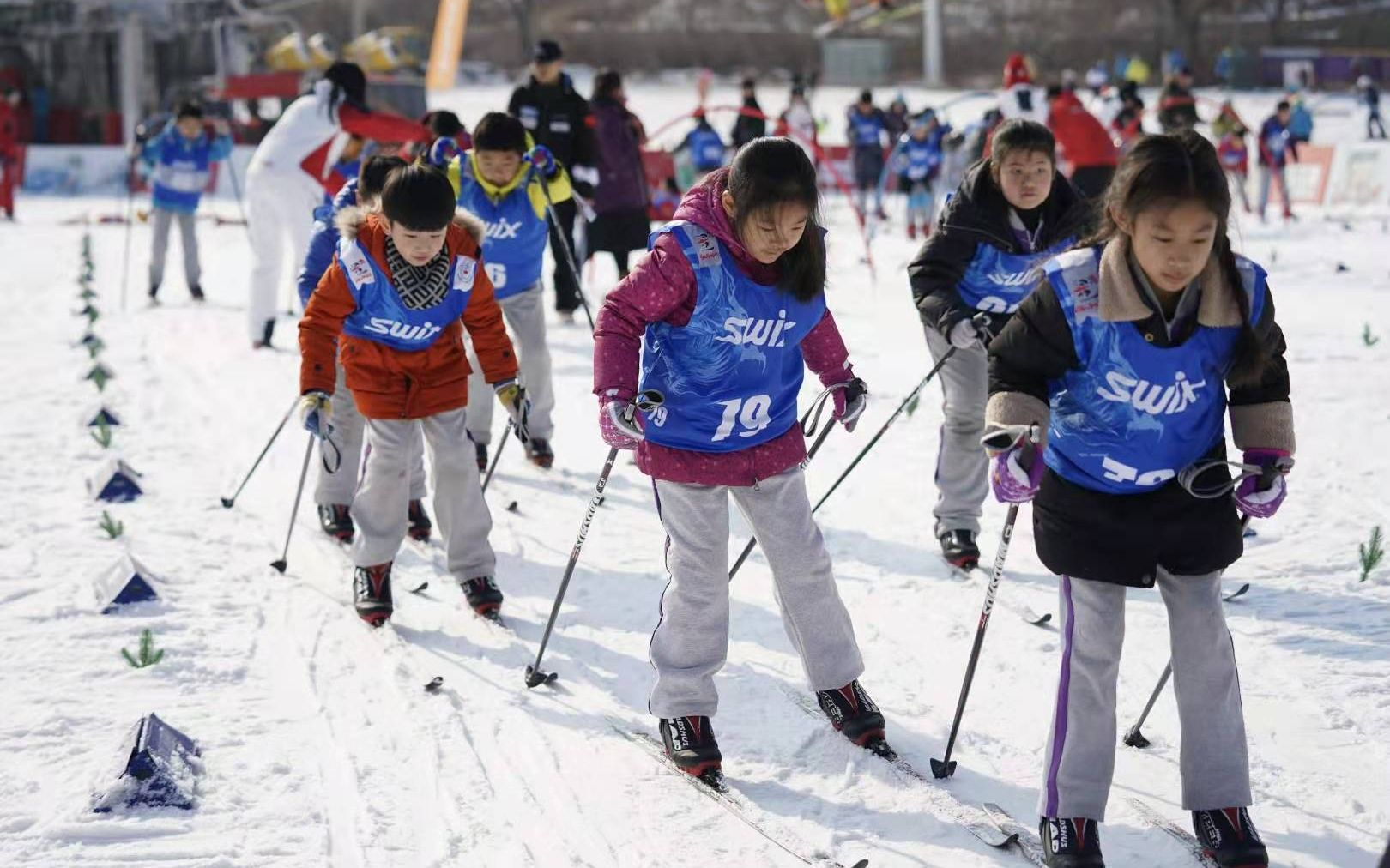 有滑轮基础可直接上雪,近两百名孩子首次体验越野滑雪图片