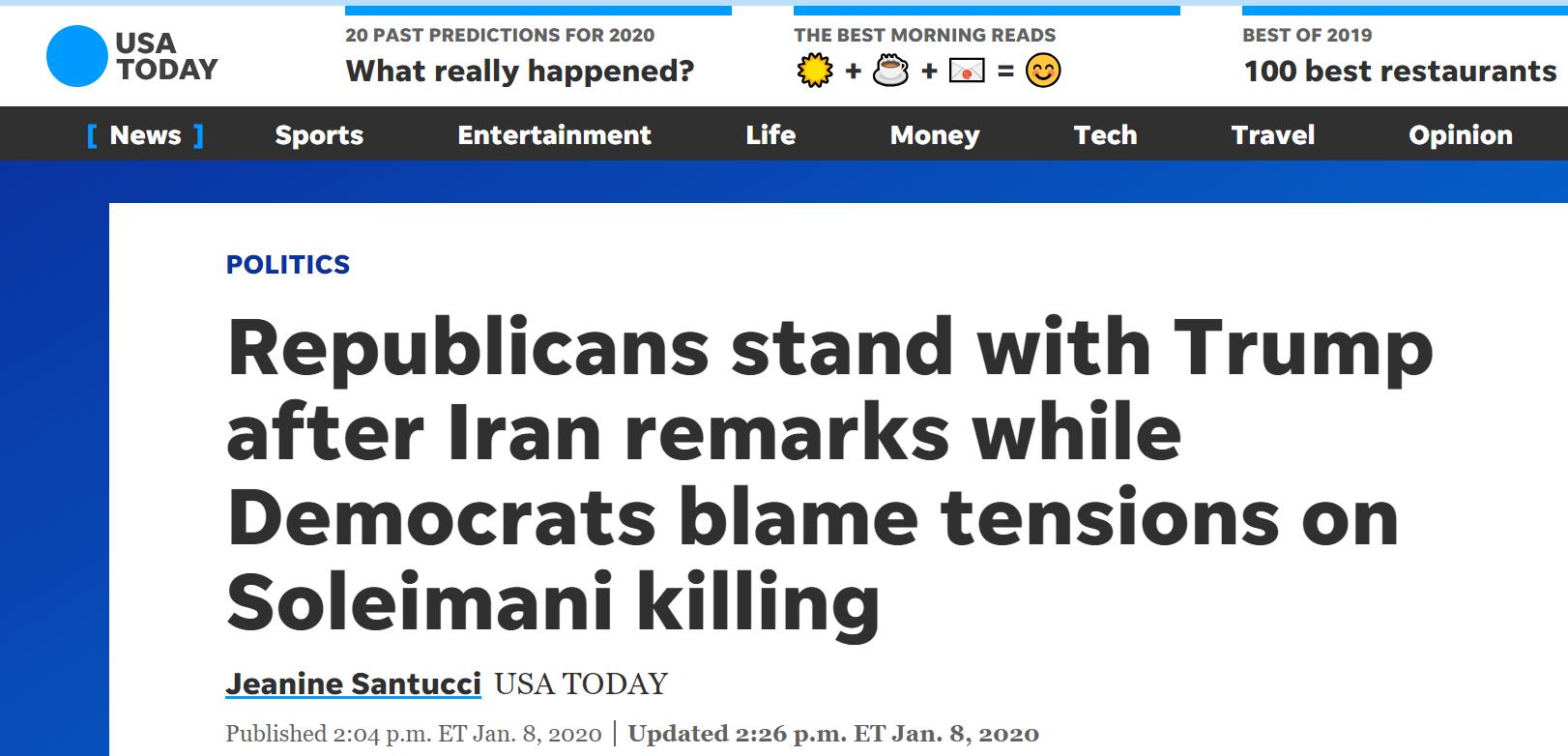 《今日美国报》报道截图