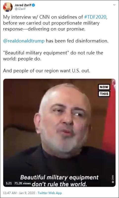 """扎里夫援引自己此前接受采访称:""""漂亮的武器无法统治世界"""" 图自:扎里夫推特"""