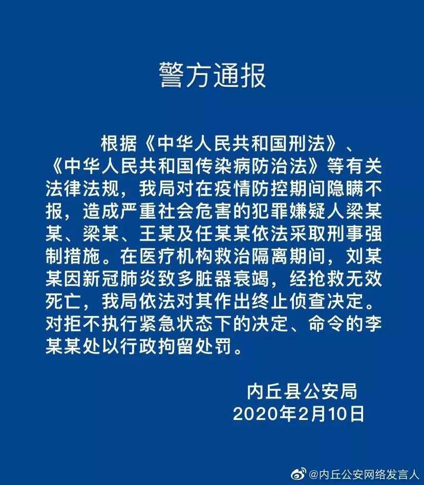 邢台内丘:警方对故意隐瞒事实病例一案4人采取刑事强制措施