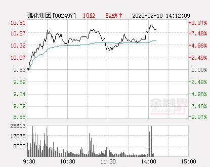雅化集团大幅拉升9.36% 股价创近2个月新高