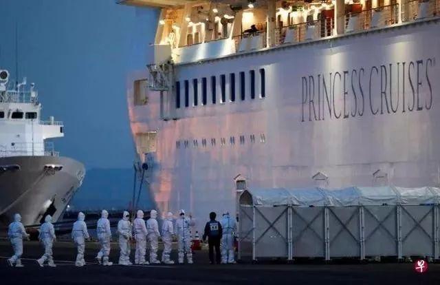 """△""""钻石公主""""号邮轮在日本横滨靠岸。"""