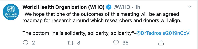 世卫组织召开全球研究和创新论坛,总干事强调团结