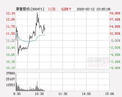 快讯:厚普股份涨停  报于12.34元
