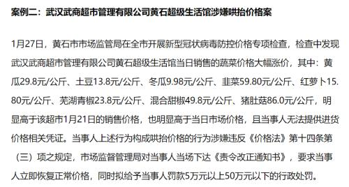 鄂武商A黄石子公司卖蔬菜涉嫌哄抬价格 登榜违法典型