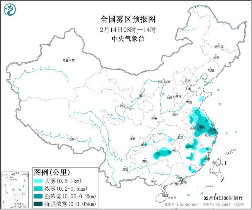大雾黄警 江苏上海安徽等地局地能见度不足200米