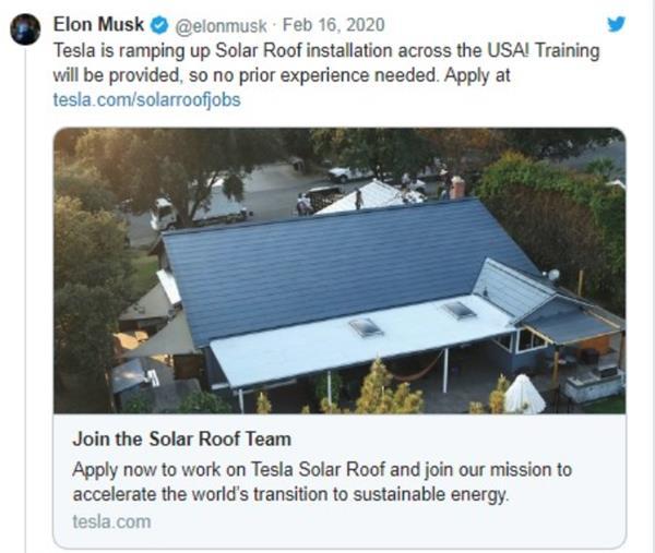 马斯克:第三代特斯拉太阳能屋顶成本更低 会尽快进入中国市场