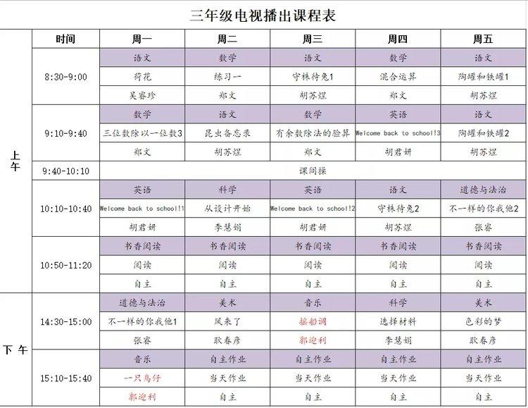 第二周《名校同步课堂》课程表(2月17日-2月21日),含课程名称