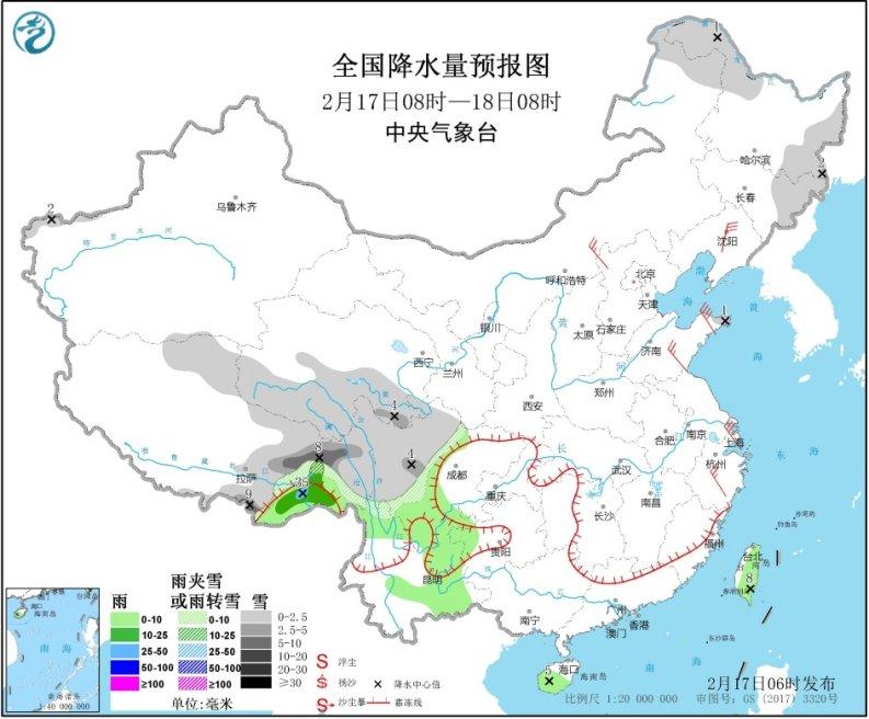 青藏高原东部新疆北部有降雪东部