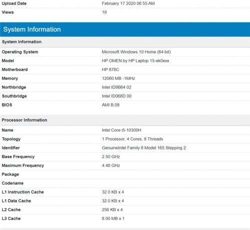 惠普新款暗影精灵笔记本曝光:搭载i5-10300+GTX 1650Ti