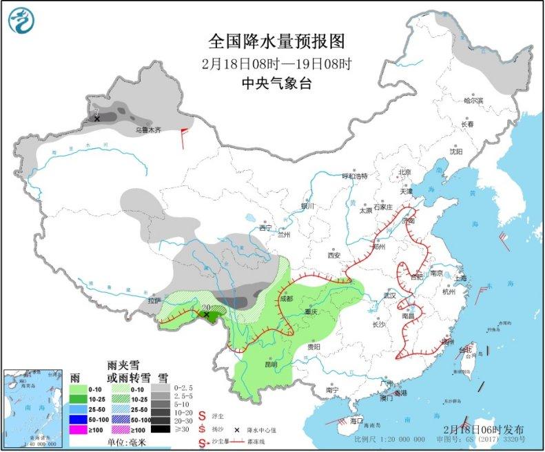 青藏高原东部新疆北部有降雪 南