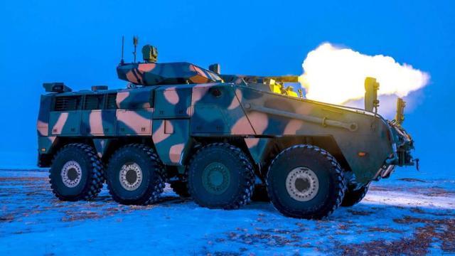 哈萨克斯坦国产装甲车测试,新式炮塔火力强悍,助该国陆军大发展